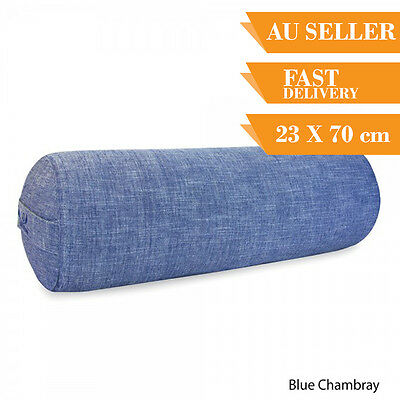 Organic Yoga Bolster Back Support Head Support Reading Bolster 70cm Blue Chambra