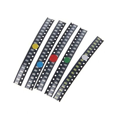 100 Pcs1206 SMD 5 Colors LED Light Red White Green Blue Yellow Assotment Kit