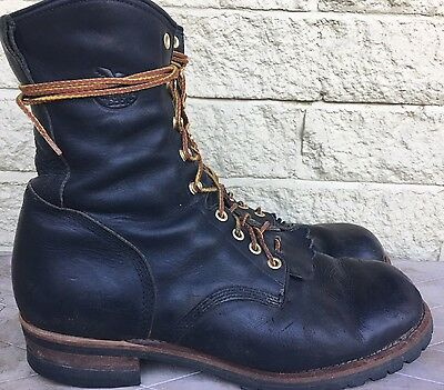 """Georgia Boot Men's 8"""" Black Leather Logger Work Boots Size 12 M G9160"""
