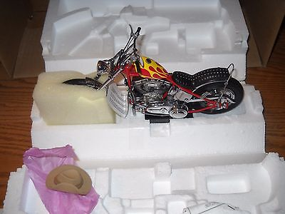 FRANKLIN MINT -BOXED -BILLY BIKE CHOPPER***EASY RIDER with C.O.A.& HAT -AWESOME