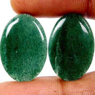 31.40 Ct. Aaa Quality Natural Green Aventurine Pair Oval Cabochon Gemstones