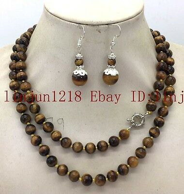 AAA+ 36'' Long 8mm Natural Yellow  Tiger's Eye Gemstone Necklace Silver Earring