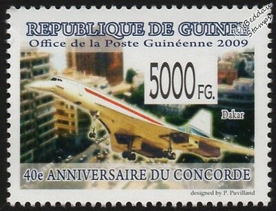 Air France CONCORDE (Dakar) Supersonic Airliner Aircraft Stamp #2 (2009 Guinea)