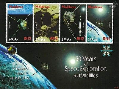 VANGUARD I Satellite / 50 Years of Space Exploration Stamp Sheet / 2008 Maldives
