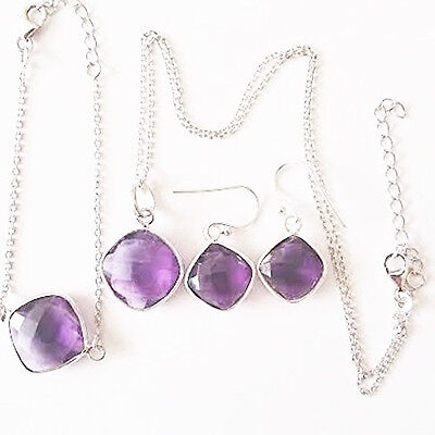 New Woman's Sterling Silver Jewellery Set CHECKER CUT GEOMETRIC GEMSTONES 18""