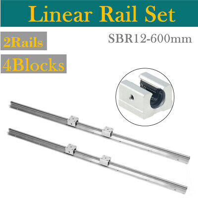2pcs SBR12 600mm 12MM Support Linear Rail Shaft Rod + 4pcs SBR12UU Block CNC Set