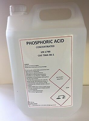 Phosphoric Acid Descaler and Rust remover 5 litres concentrate 85% max strength