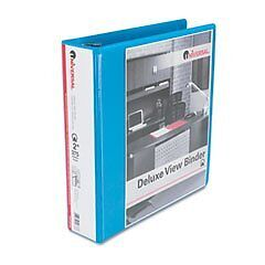 UNIVERSAL Deluxe Round Ring Vinyl View Binder, 2in Capacity, Light Blue (Case