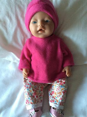 "Doll Clothes to fit 17"" Baby Born doll ~ 3 piece set ~ pink top Flower Pants"