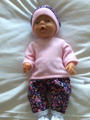 "Doll Clothes to fit 17"" Baby Born doll ~ 3 piece set ~ pink top Navy Flower Pant"