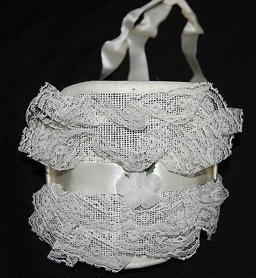 Vintage White Baby Bonnet White Lace Hat Ribbons Ties Flower Floral