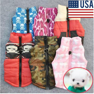 US Winter Warm Small Dog Pet Puppy Cat T Shirt Clothes Vest Coat Apparel Costume