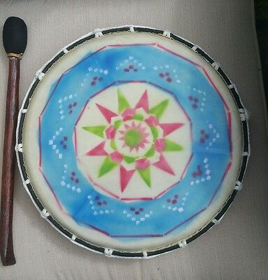 Large Fair Trade Hand Made Wooden Painted Native American Shamanic Drum ~ 38cms.