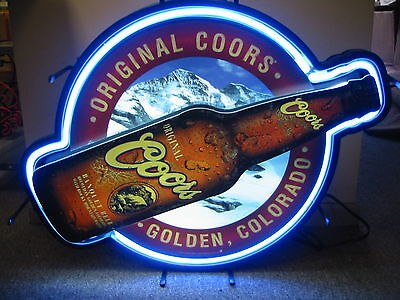 Original Coors Slanted Bottle   Large     Neon Sign