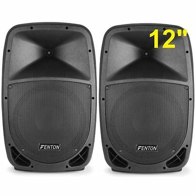 "Coppia Casse Amplificate Attive 1000W Woofer 31 Cm 12"" In Abs"