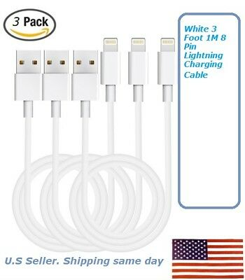 Lot of 1/3/6 Cord iPhone 6 5S 5C White 3 Foot 1M,8 Pin Lightning Charging Cable