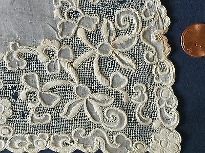 19th C. unusual white drawnwork embroidered lace  large handkerchief
