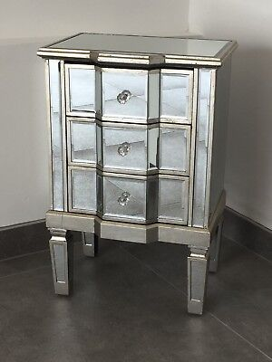Pair Of Venetian Mirrored 3 Drawer Bedsides With Distressed Antique Silver Trim