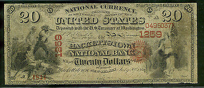 Hackettstown, New Jersey $20 Original Nat'l Bank National Currency 8 Known on NJ