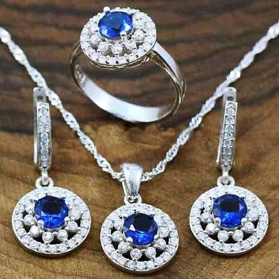 925 Sterling Silver Turkish Handmade Woman Lady Sapphire Stone Full Set All size