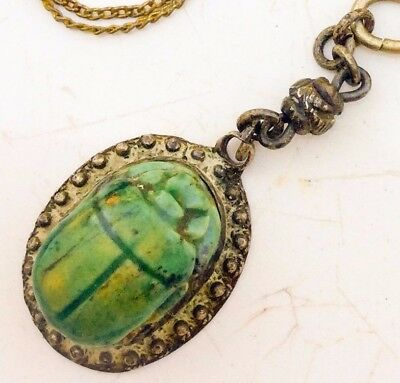 Antique Scarab necklace ceramic Beetle Egyptian Revival sterling silver 1920s