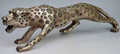 Collectible Decorated Silver Plate Copper Carved Big Leopard Walk Statue