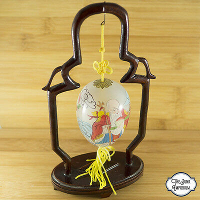 Vintage Chinese Immortal Crane Peach Reverse Painted Glass Egg & Stand Lot 319