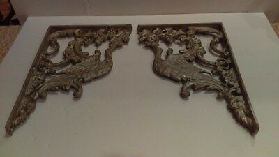 2 Antique Early 1900's Cast Iron Gilded Bird Shelf Wall Brackets