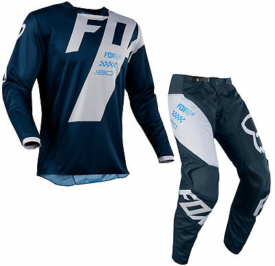 Fox Racing Mens Navy Blue 180 Mastar Dirt Bike Jersey & Pants Kit MX Off-Road
