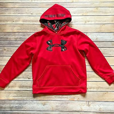 Boys UNDER ARMOUR Storm Hooded Logo Sweatshirt Red - Size YMD