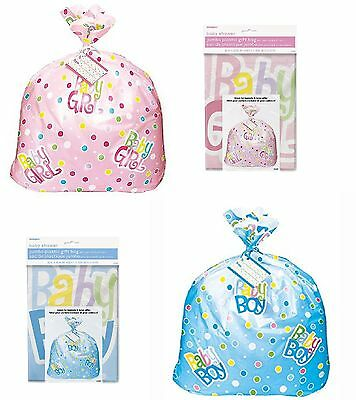Jumbo Plastic New Baby Girl Boy Shower Pink Blue Gift Bag Sack 91 x 111cm