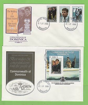 Dominica 1986 Royal Wedding set & m/s First Day Covers