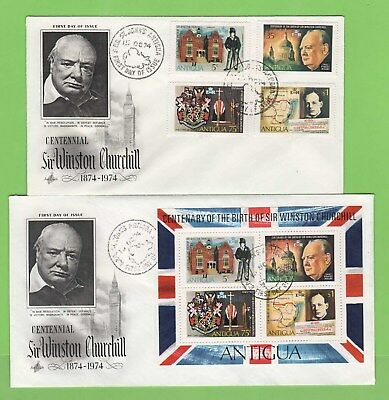 Antigua 1974 Churchill set & miniature sheet on two First Day Covers