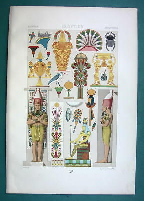 EGYPT Wall Ornaments Birds Flowers Figures - COLOR Litho Print A. Racinet