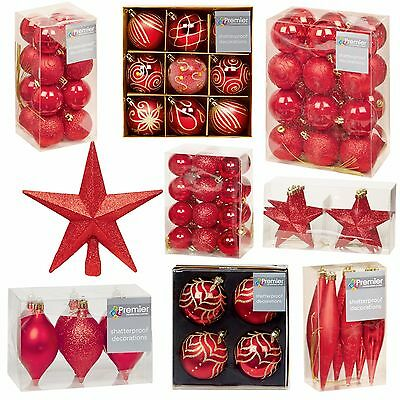 Red Collection Christmas Decorations Baubles Stars Cones Hearts Tree Topper
