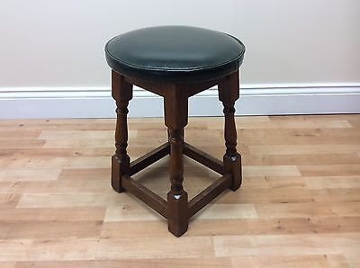 Traditional Green Leather Top Vintage Style Bar Stool - Quantity Available