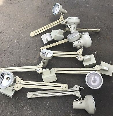 Run Of Eight Salvaged Industrial Anglepoise Lamps