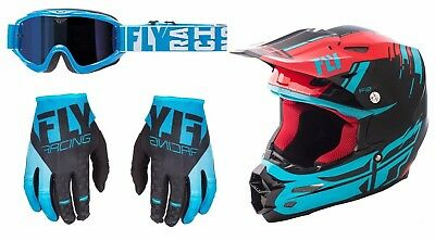 Fly Racing F2 Carbon Forge Helmet Gloves Turret Goggles Motocross Blue Black