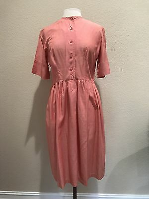 True Vtg 1950's 50's Red Pink Button From Short Sleeve Day Dress