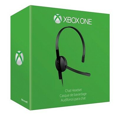 OEM Official Microsoft Xbox One Stereo Black Chat Headset w/ Adapter & USB Cable