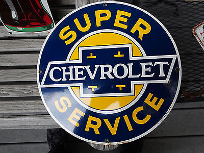 Chevrolet Super Service Porcelain Sign By Ande Rooney 11 1/4 Round Heavy Metal