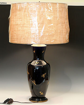 Large Antique French Pottery Gilt Blue Lamp Double Cluster