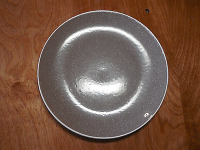 "Food Network CREPE Set of 5 Salad Plates 8"" Coupe Speckled Brown White edge"