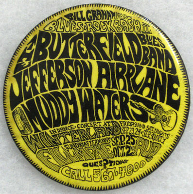 1966 Muddy Waters Jefferson Airplane - Fillmore Button BG29 AOR 2.53 Bill Graham
