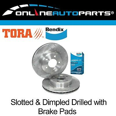 2 Front Disc Rotors+Bendix Brake Pads Falcon BA BF FG XT 02-12 Drilled + Slotted