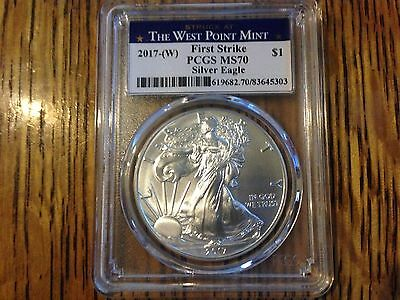 2017 US Mint American Silver Eagle Coin PCGS MS-70 First Strike West Point Label