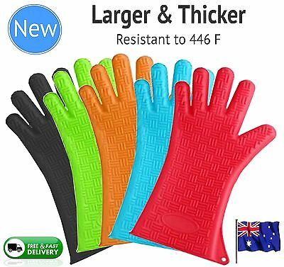 Silicone BBQ Gloves Pair Kitchen Oven Mitts Non Stick Long Heat Proof Resistant