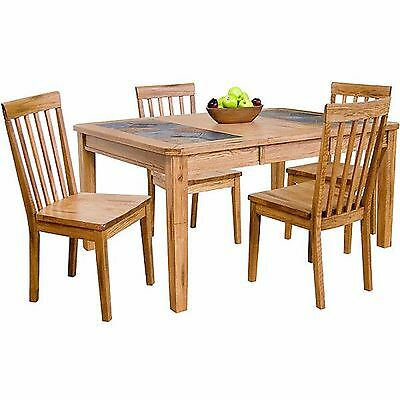 Rustic Solid Oak Wood Slate Handmade Top Extension Dining Table Antique Style