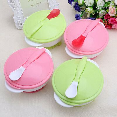 Baby Training Feeding Bowl Temperature Sensing Spoon Suction Cup Tableware Set