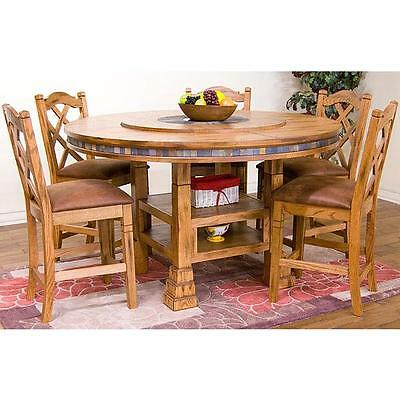 Rustic Solid Oak Wood Antique Adjustable Round Dining Table Vintage Style New